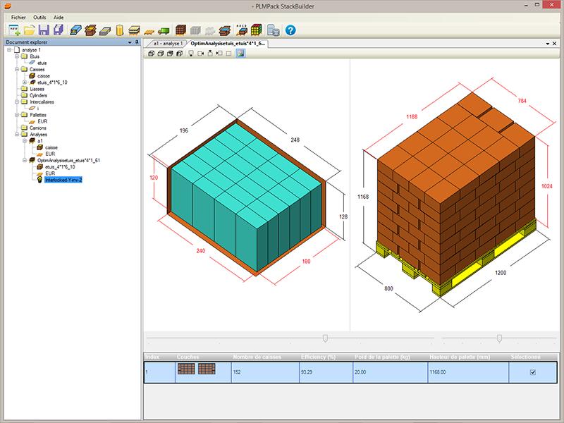PLM Stackbuilder palettisation optimisation encaissage logistique emballage